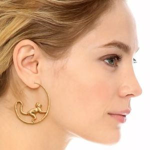 Tory Burch Playful Monkey Hoop Worn Gold Earrings